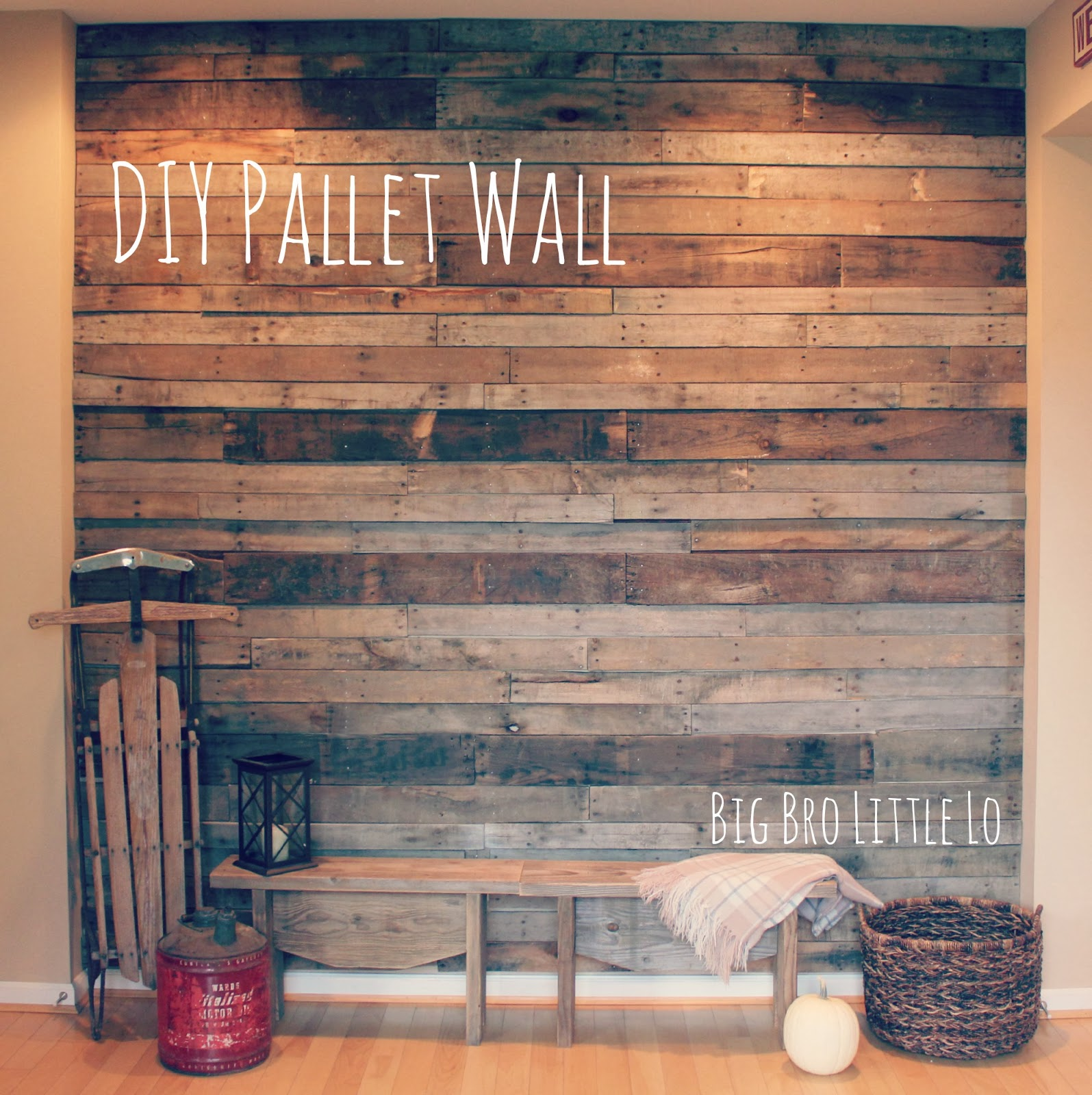 Pink Pallet Accent Wall: Big Bro Little Lo: Pallet Party