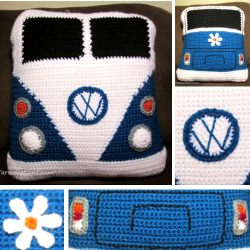 VW Van Pillow - Free Crochet Pattern