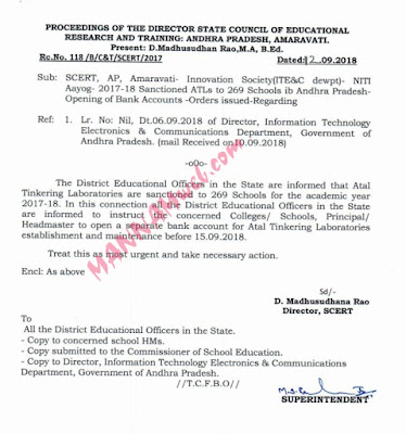 NITI Aayog - 2017-18 - Sanctioned ATLs to 269 Schools in Andhra Pradesh -Opening of Bank Accounts - Orders issued,Rc.118