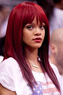 warm burgundy red bangs hairstyle
