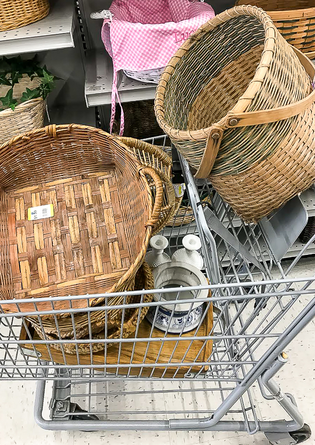 cart full of thrift store baskets