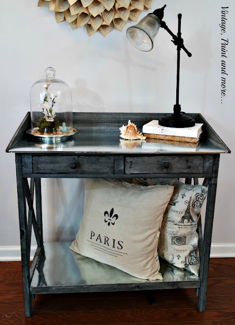 Rustic potting bench with galvanized sheeting top and shelf