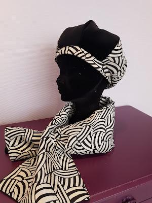 Patouche Chapeaux béret 4 tranche velours et tissu art déco