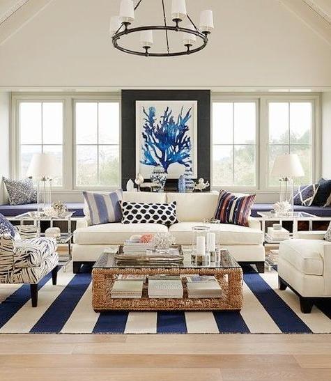 Large Oversized Blue Sea Fan Coral Wall Art Living Room