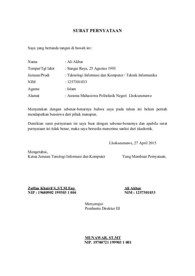 Contoh Surat Resmi Pernyataan tidak Menerima Beasiswa dari Pihak Lain