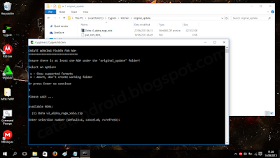Screenshot pengaturan working folder dan pemilihan rom - catatandroid.blogspot.com
