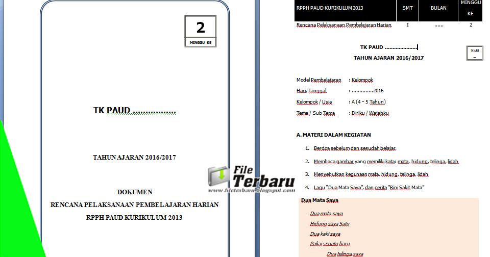 Download File Terbaru Contoh Rpph Tk A Minggu 2 Kurikulum 2013 Semester 1 File Terbaru