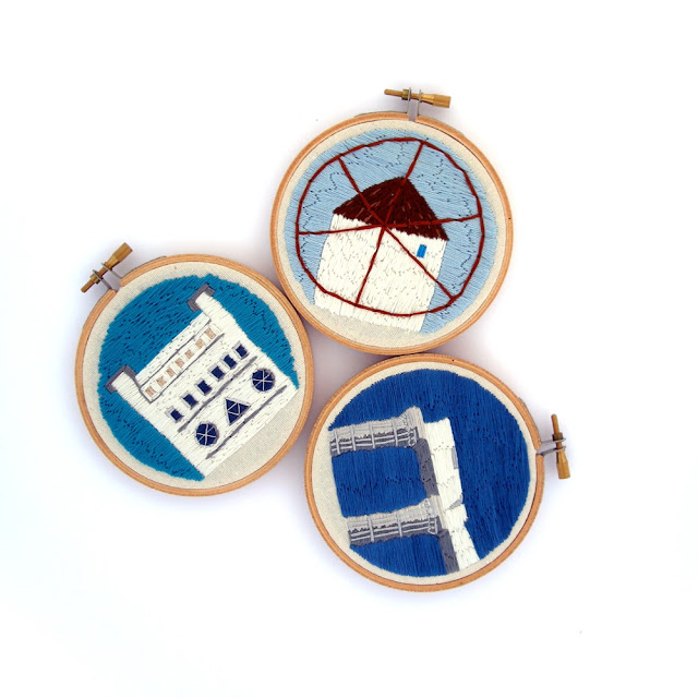 greek theme embroidered art hoops