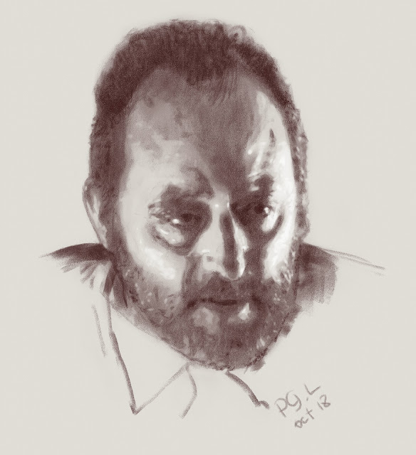 Жан Рено, портрет. Цифровая сепия