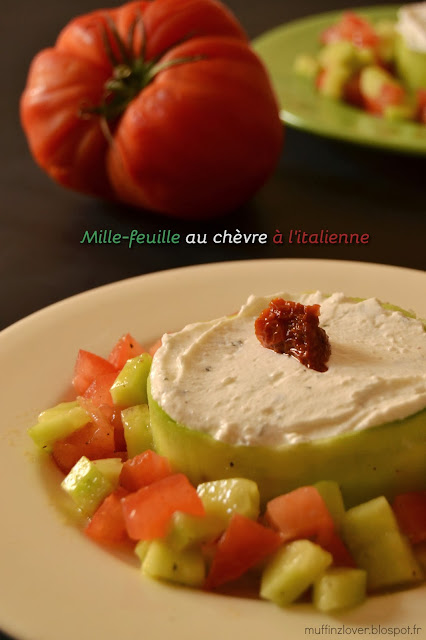 Recette mille feuille chèvre, tomate, concombre - muffinzlover.blogspot.fr