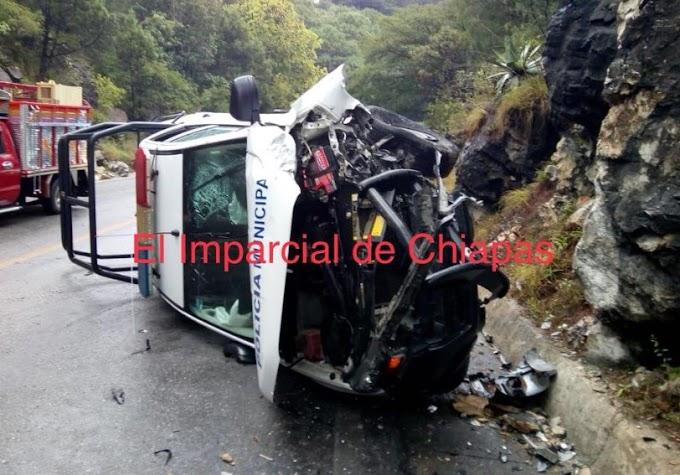 Se lesionan elementos estatales tras volcadura en el tramo San Cristóbal- Teopisca