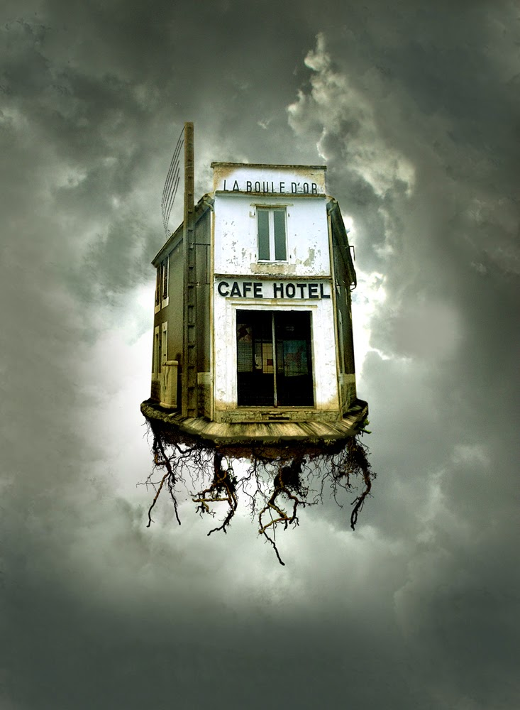 maison volante-photoshop-manipulation-flying house-photomanipulation-la boule d'or