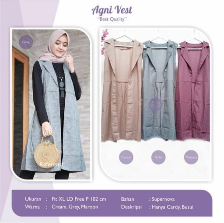 Jual Baju Atasan Wanita Agni Vest Cardy