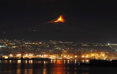 vulkánkitörés, vulkán, Etna, Olaszország, Szicília