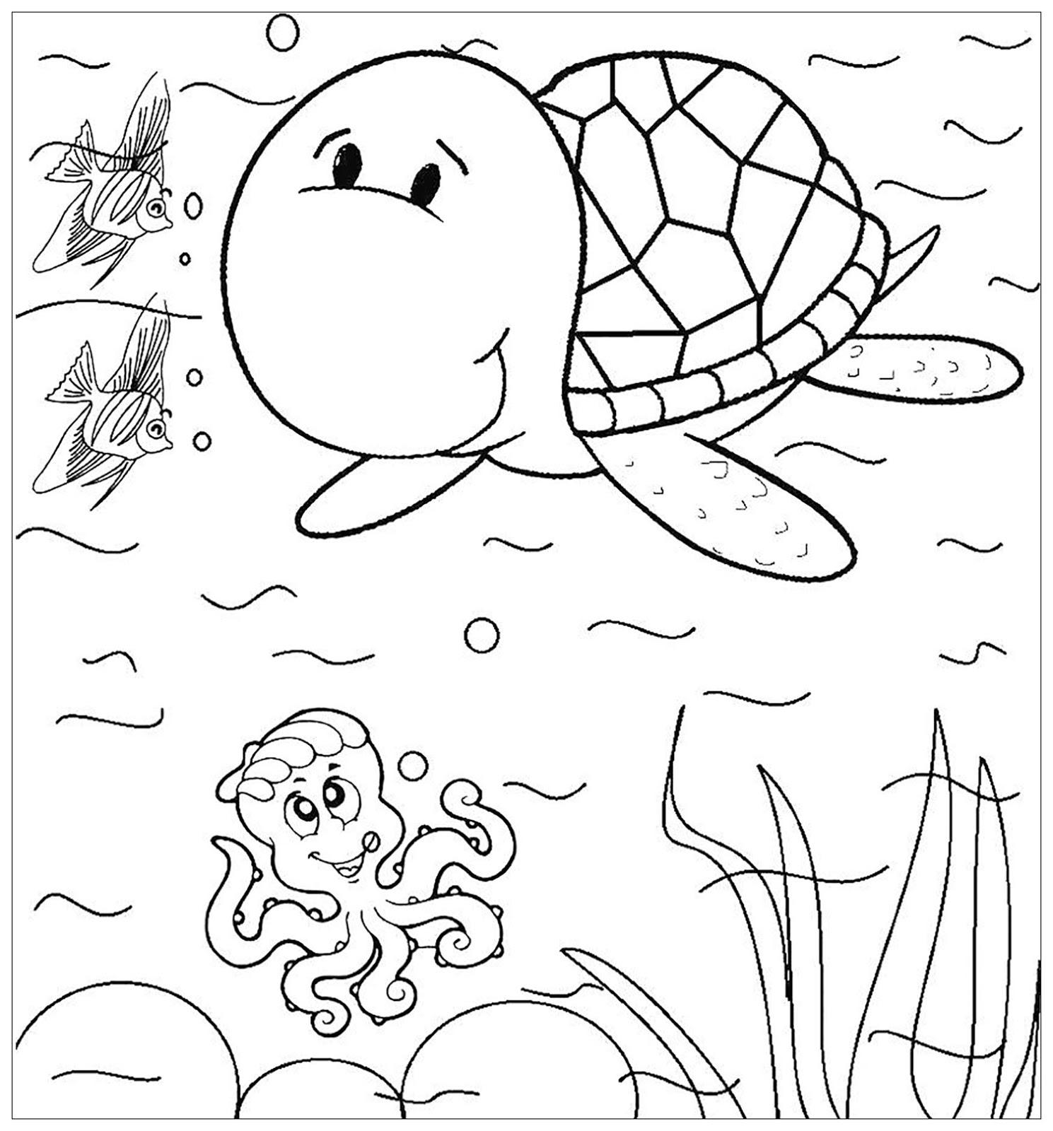 Tranh cho bé tô màu con rùa đang bơi