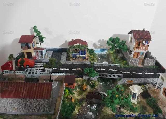Town diorama, miniatures