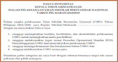 Pakta Integritas USBN 2019 Format DOC (WORD)