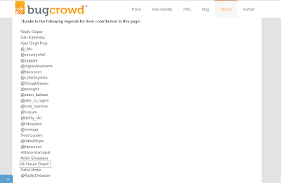 Got Contribution on BugCrowd !  I was reported some new Websites , who have Bug Bounty Program or Hall Of Fame Program . BugCrowd Updated it on ( http://bugcrowd.com/list-of-bug-bounty-programs/ ) Page .  Thanks BugCrowd Team !   ALHAMDULILLAH !  Thanks Of ALLAH ALMIGHTY