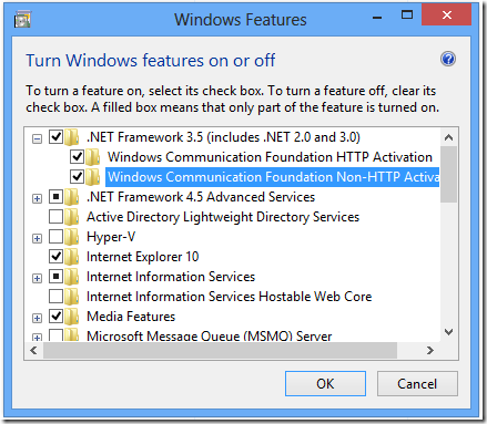 check to enable .Net Framework 3.5 (includes .Net 2.0 and 3.0) error dialog box