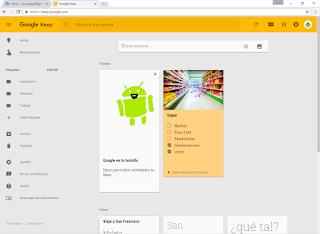 Vista de las notas fijadas en el navegador
