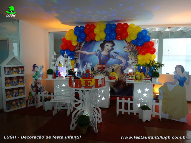 Decoração de aniversário infantil Branca de Neve - Festa Branca de Neve