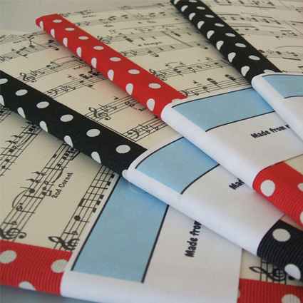 notebooks with sheet music covers