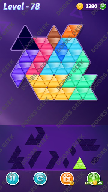 Block! Triangle Puzzle 9 Mania Level 78 Solution, Cheats, Walkthrough for Android, iPhone, iPad and iPod