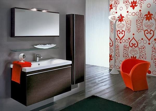 baño color negro y rojo
