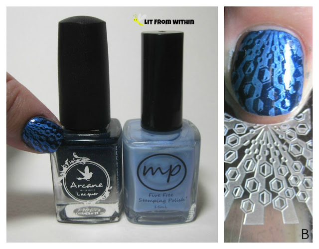 "Arcane Lacquer Disarm The Karma, and stamped with a stamping plate labeled, ""B"" and M Polish StarFlower."