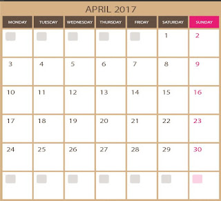 vector for free - blank kalendar for April 2017 - printable and editable  photoshop ESP and illustrator ai images qualities. Downloads for free