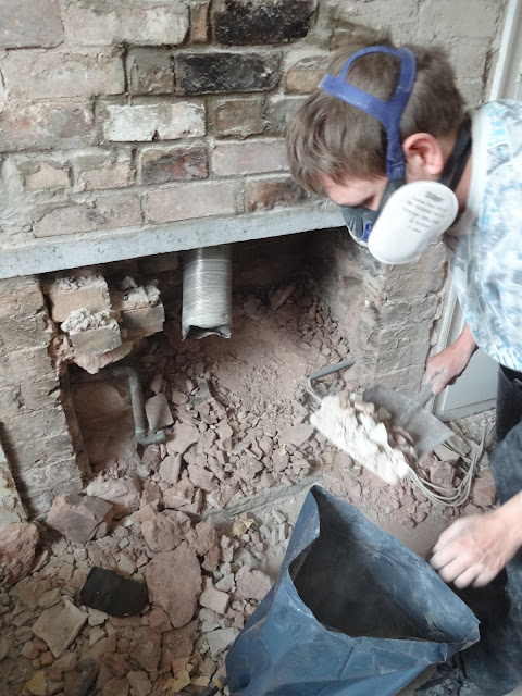 opening a chimney for a log burner