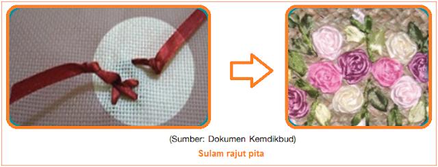 Sulam rajut pita - Jenis-Jenis Sulam (Sulam Kepala Peniti, Bayang, Renda Bangku, dan Sulam Pita)