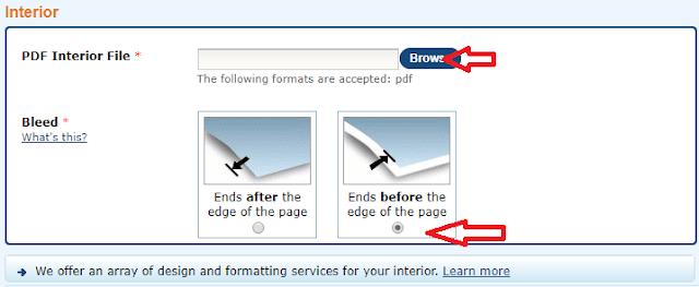 Screenshot: Upload your book interior pdf file