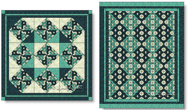 Quilts designed using the CHINESE PUZZLE quilt block - images © Wendy Russell