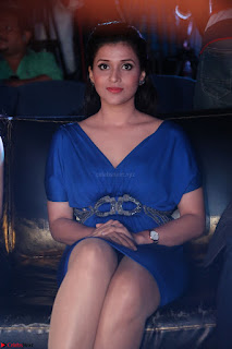Mannara Chopra in Short Blue Dress at Rogue Movie Teaser Launch 1st March 2017 039.JPG