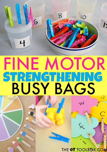 Use busy bags to help kids develop and build fine motor skills like hand strength