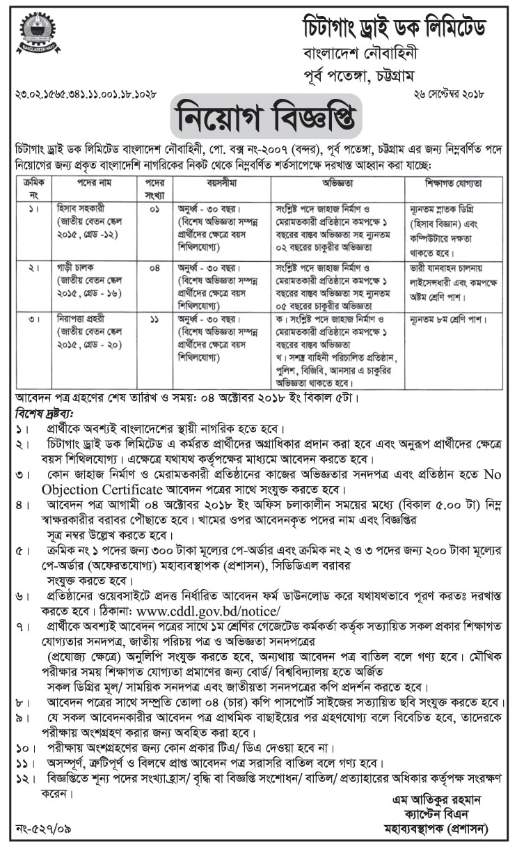 Chittagong Dry Dock Limited Job Circular 2018 | www cddl gov bd