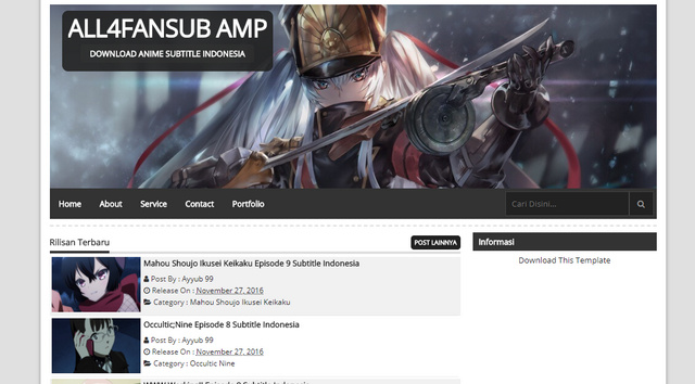 Fansub No GridAMP Blogger Templates