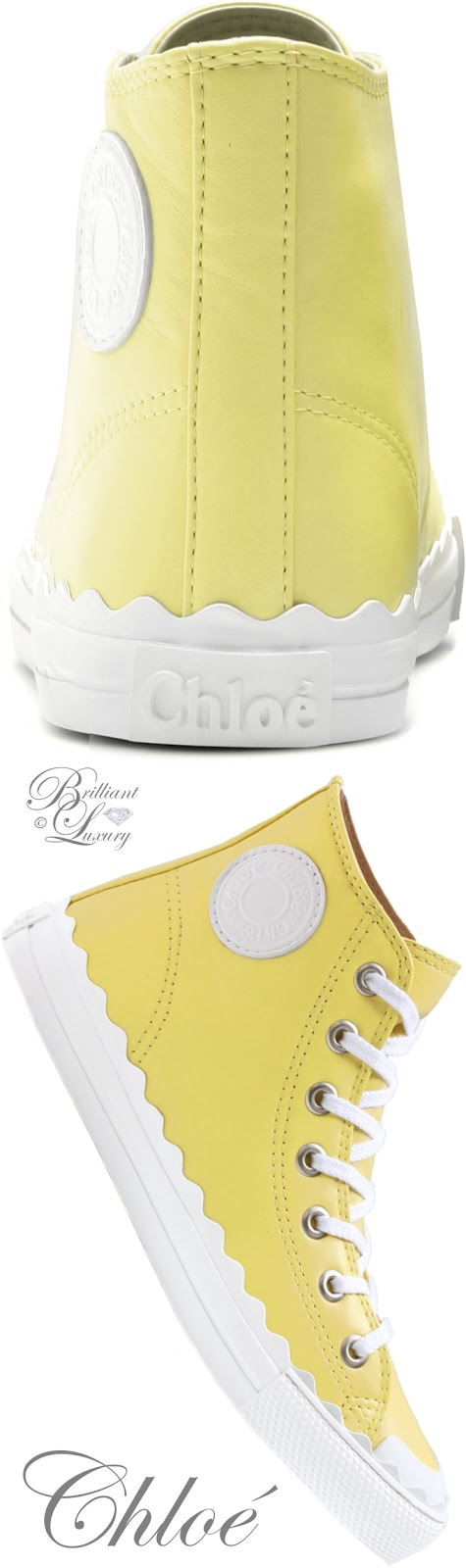 Brilliant Luxury ♦ Chloé high-top yellow leather sneakers