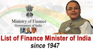 List of Finance Ministers of India since 1947– 2019
