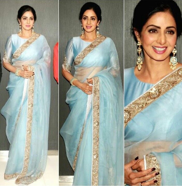 Sridevi Pastel Color Organza Saree