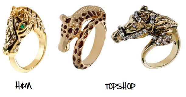 Clones 2011 anillos H&M Topshop