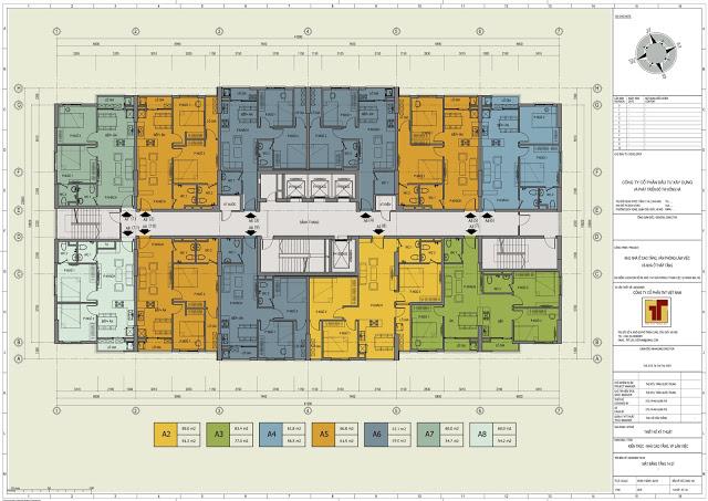 Mặt bằng thiết kế tầng 7-14 Hồng Hà Tower