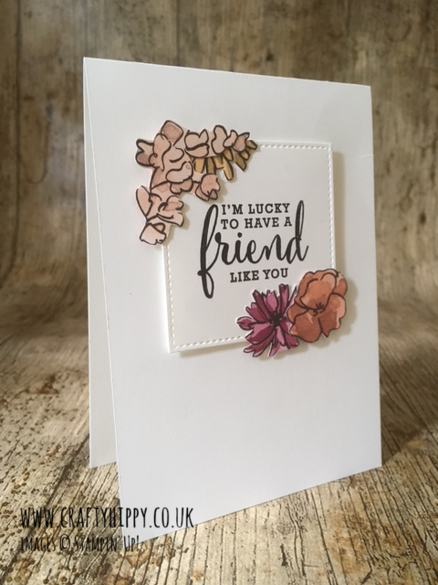 This image shows a floral, handmade card made with the Share What You Love Specialty Designer Series Paper by Stampin' Up!