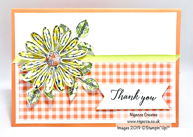 #GDP181  Nigezza Creates, Stampin Up, Gingham Gala, Daisy Delight