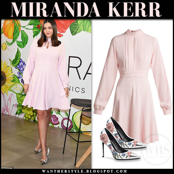 Miranda Kerr in pale pastel pink giambattista valli mini dress feminine date style january 11