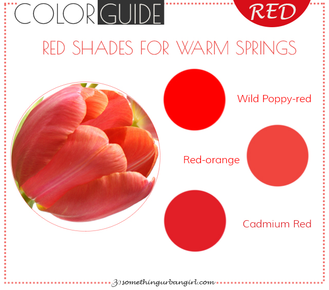 The best red color shades for Warm Spring seasonal color women