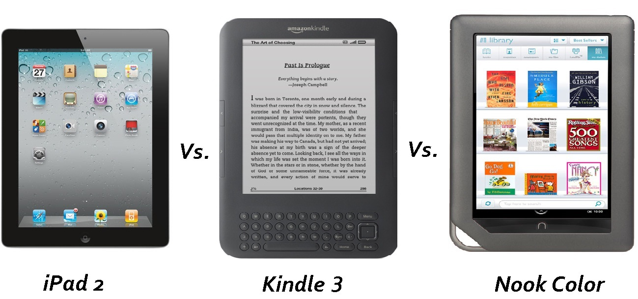 Kindle Vs Sony Reader: Kindle Vs Nook Color Vs IPad 2