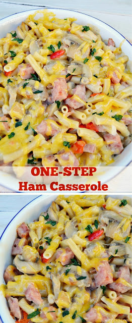 Dump, bake and serve this One-Step Ham Casserole within one hour