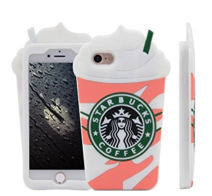 MC Fashion Cute 3D Starbucks Pink Strawberry Frappuccino's Cup Protective Silicone Case Cover for Apple iPhone 8.